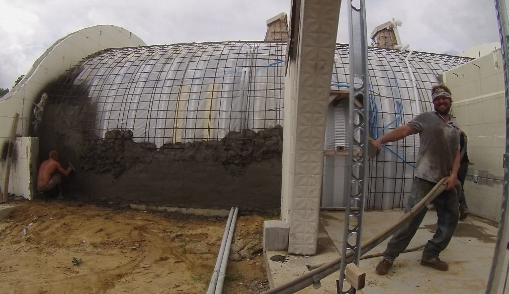 rebar and shotcrete over the quonset hut
